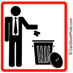 business man throwing garbage into trash