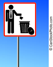man throwing garbage into trash