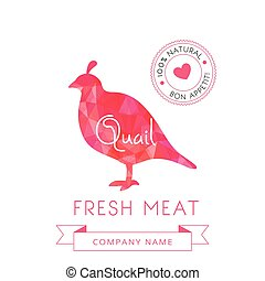Image meat symbol quail silhouettes of animal for design...