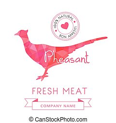 Image meat symbol pheasant silhouettes of animal for design...
