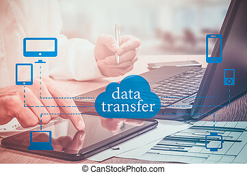 Data Transfer Online Computing Network Internet Connect Concept.