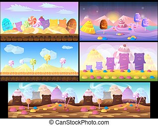 Cartoon fairy tale landscape. Candy land illustration for game background