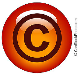 red copyright web button or icon - illustration