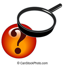 magnifying glass on question mark - magnifying glass over...