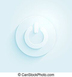 Abstract paper style power button vector icon. Switch off...