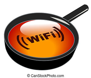 magnifying glass on wifi button