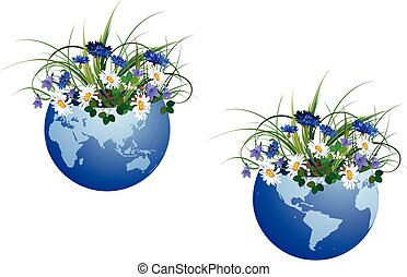 globe and flowers - set of vector illustration with globe...