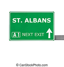 ST ALBANS road sign isolated on white
