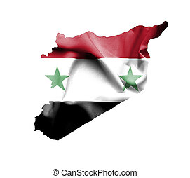 Map of Syria with waving flag isolated on white