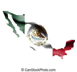 Map of Mexico with waving flag isolated on white