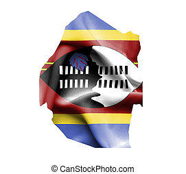 Map of Swaziland with waving flag isolated on white