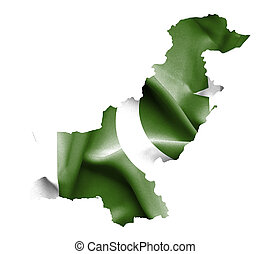 Map of Pakistan with waving flag isolated on white