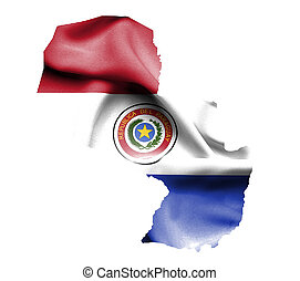 Map of Paraguay with waving flag isolated on white