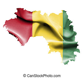 Map of Guinea with waving flag isolated on white
