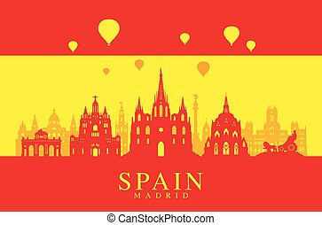 Spain Travel Landmarks Flag.