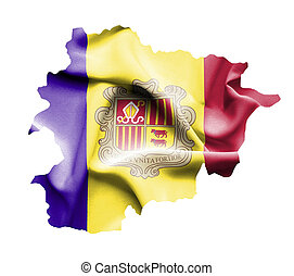 Map of Andorra with waving flag isolated on white