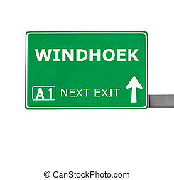 WINDHOEK road sign isolated on white