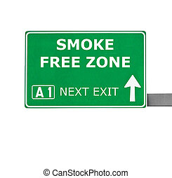 SMOKE FREE ZONE road sign isolated on white