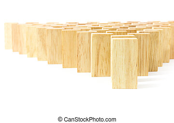 Wooden Domino in row against the white background