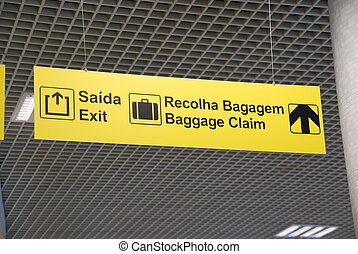 Exit and baggage claim sign