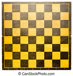 Chess board - Wooden chess board in black and yellow
