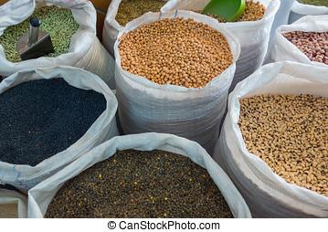Bolsas, blanco, legumbres, variedad
