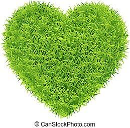 vector green grass heart