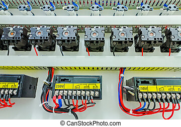 Electrical control panel in distribution fuse box.