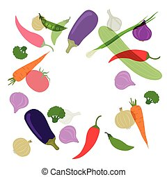 Vector Background with Vegetables - Vector Illustration of a...