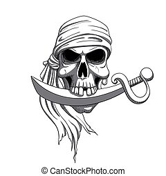 Vector Pirate Skull - Vector Illustration of a Hand Drawn...