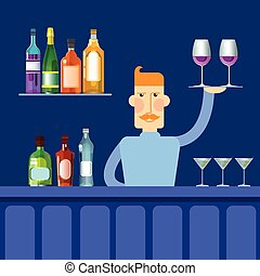 Bar Counter Barmen Hold Tray With Wine Glasses Alcohol Drink...