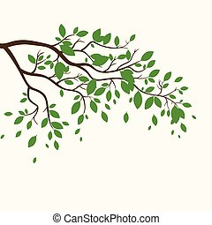 Vector Branch with Green Leaves