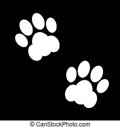 black animal footsteps - Couple black and white animal...