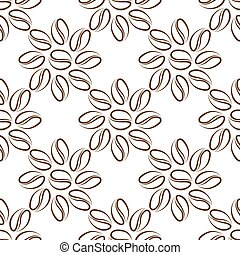 coffee beans flower seamless on white background