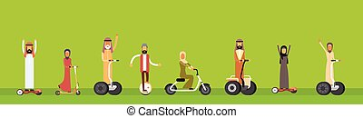 Arab People Group Arabic Man Woman Ride Electric Hover...
