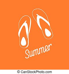 Flip Flops Icon Summer Slippers Foot Wear Flat  Illustration