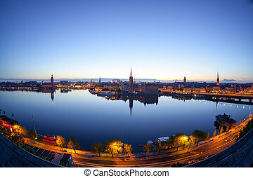 Scenic evening panorama of Stockholm, Sweden