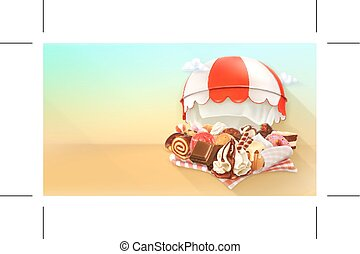 Coffee and pastry shop, confectionery vector background