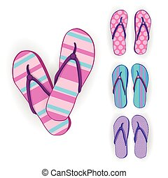 Flip Flops Icon Summer Slippers Foot Wear Set Collection...