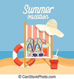 Summer Beach Vacation Set Sand Tropical Banner Flat Vector...