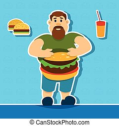 Fat Man With Big Abdomen Hamburger Junk Fast Food