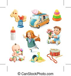 Kids and toys icons - Kids and toys, set of vector icons