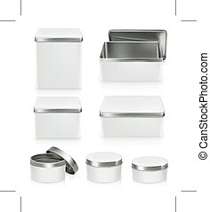 Set of metal boxes
