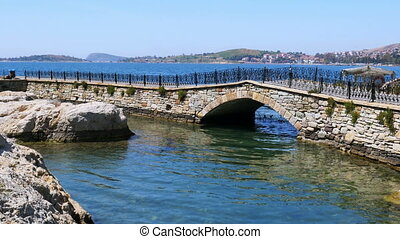 quot;empty bridge of foca castle, izmir, turkeyquot; - empty...