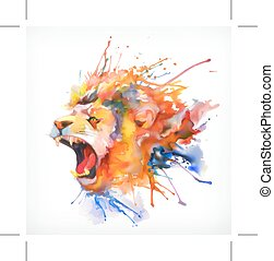 Roaring lion, vector illustration - Watercolor painting....