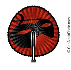 red fan mask - white background and the rounde fan with...