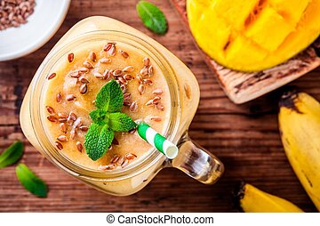 mango smoothie with flaxseed and mint - tropical smoothie...