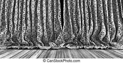viejo, teatro, Plano de fondo, cortinas