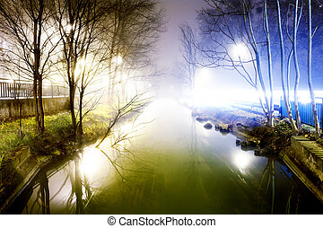 Night cityscape and water channel - Cityscape at foggy night...
