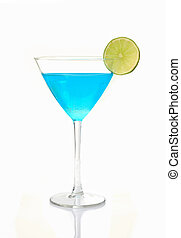 Blue cocktail with a slice of lime